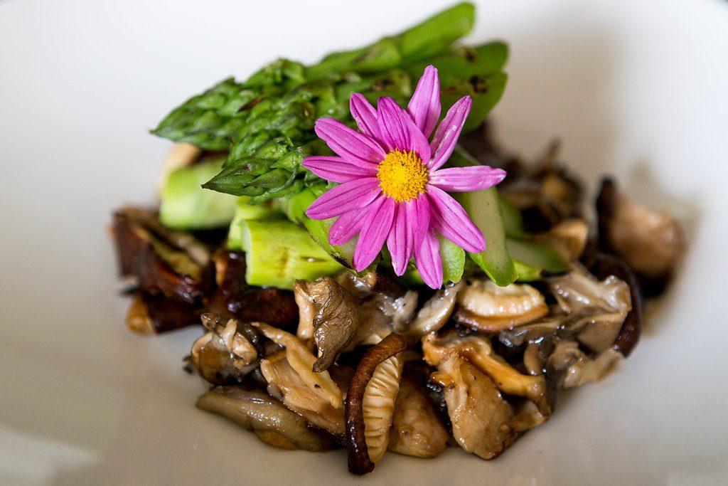 Grilled Asparagus & Mushrooms with Oyster Sauce, Lemon Zest