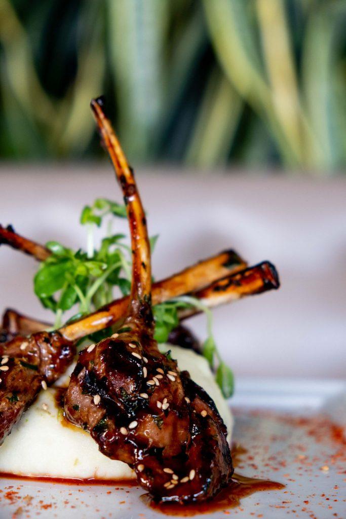 Grilled Lamb Chops Ichimi Glaze, Shishito Potato Mash*